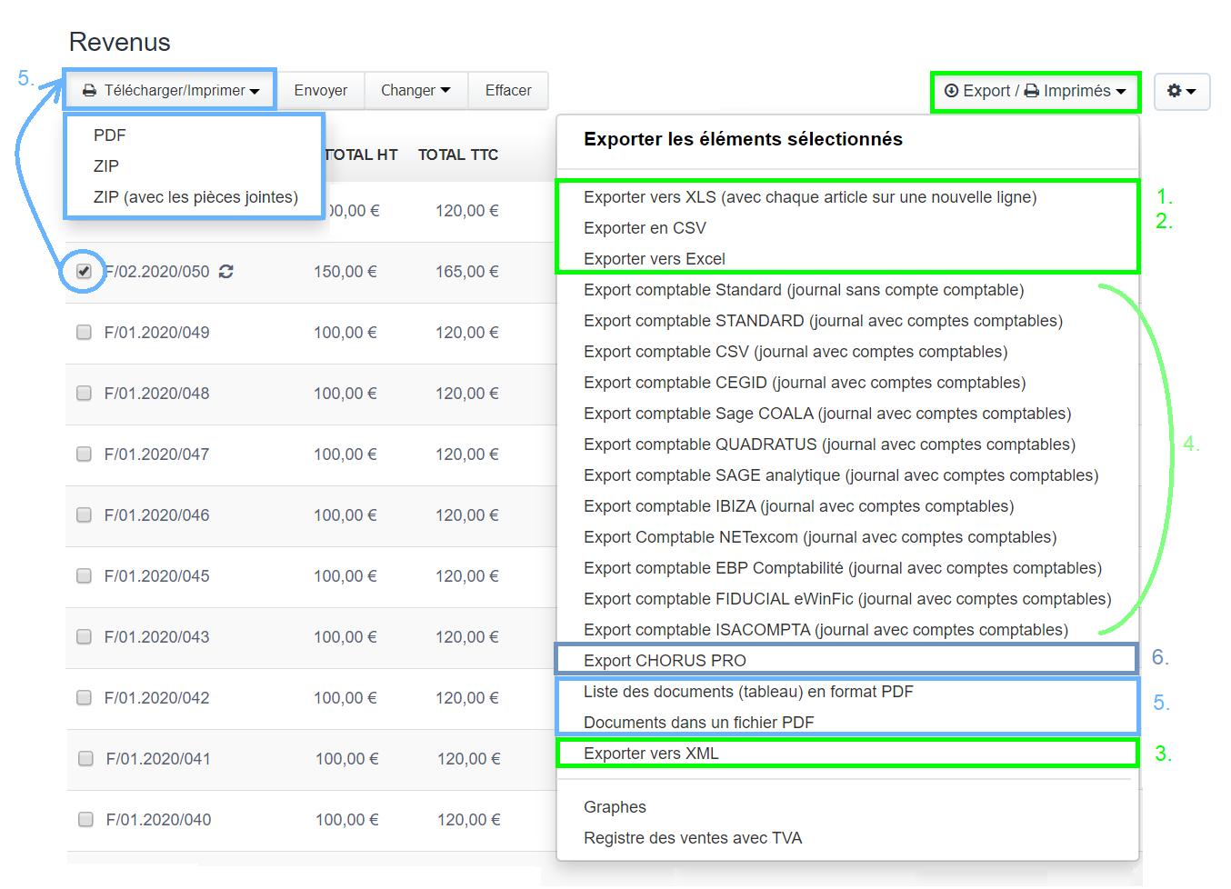 Télécharger Exporter Factures et Devis PDF ou Excel XLS