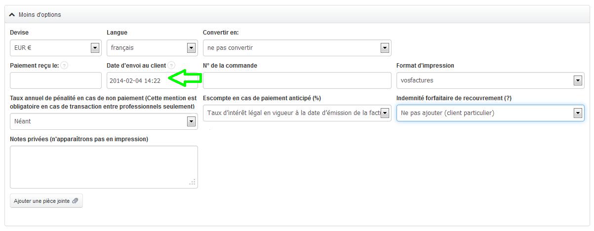 Heure et la Date d'Envoi du Document, ainsi que la Personne à l'Origine de l'Envoi VosFactures.fr