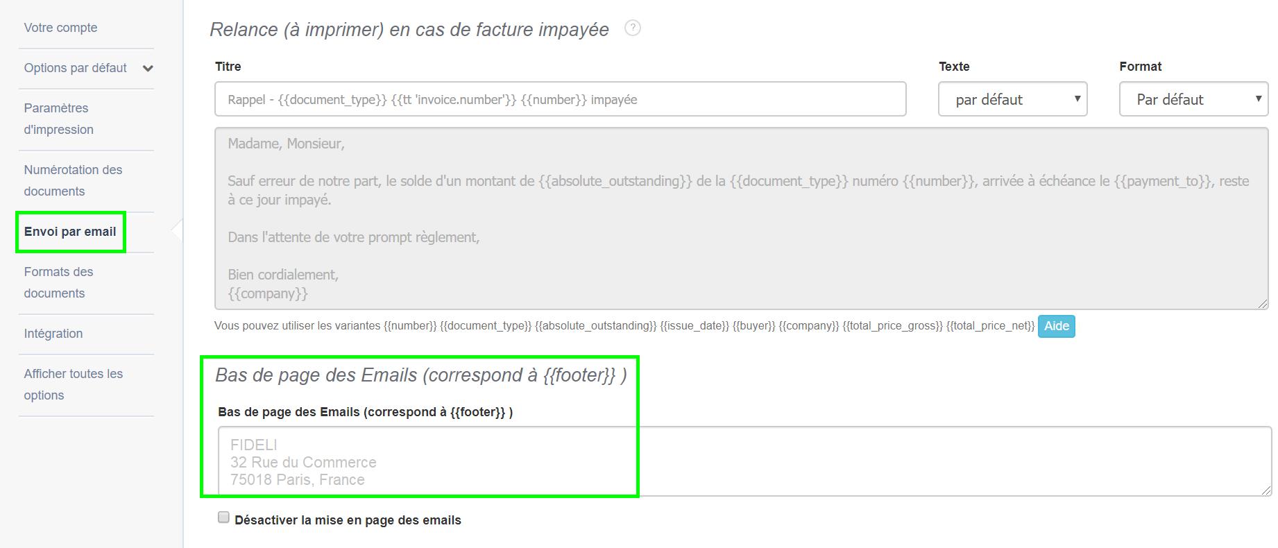 Envoi en ligne des Documents de Facturation Signature html des Emails