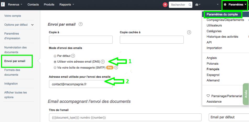 Envoyer en Ligne avec Votre Propre Adresse DNS VosFactures.fr