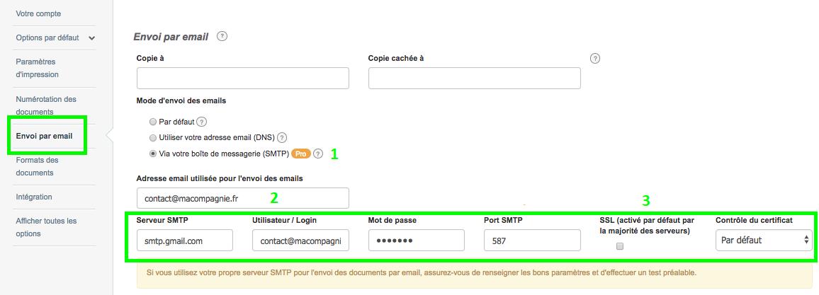Envoi Mail par Smtp Personnalisation Envoi Facture VosFactures.fr