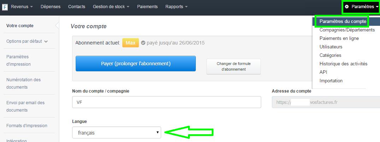 Changer la Langue par Default de l'Interface VosFactures.fr