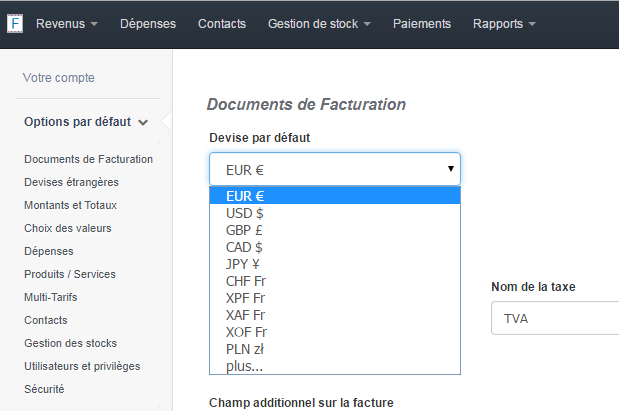 Choix de la Devise du Compte Facturation VosFactures.fr