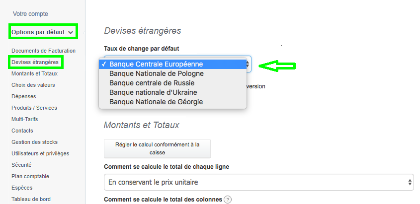 Facture en Devise Etrangère Taux Officiels VosFactures.fr