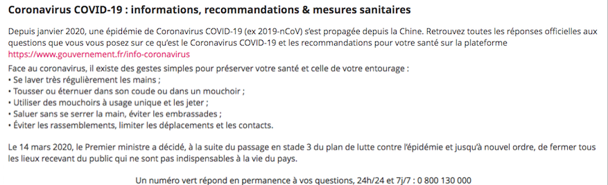 coronavirus recommandations gouvernement france