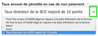 Créer Facture Taux de pénalité en cas de retard de paiement BCE