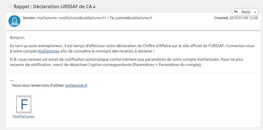 Facturation AutoEntrepreneur Mail Rappel