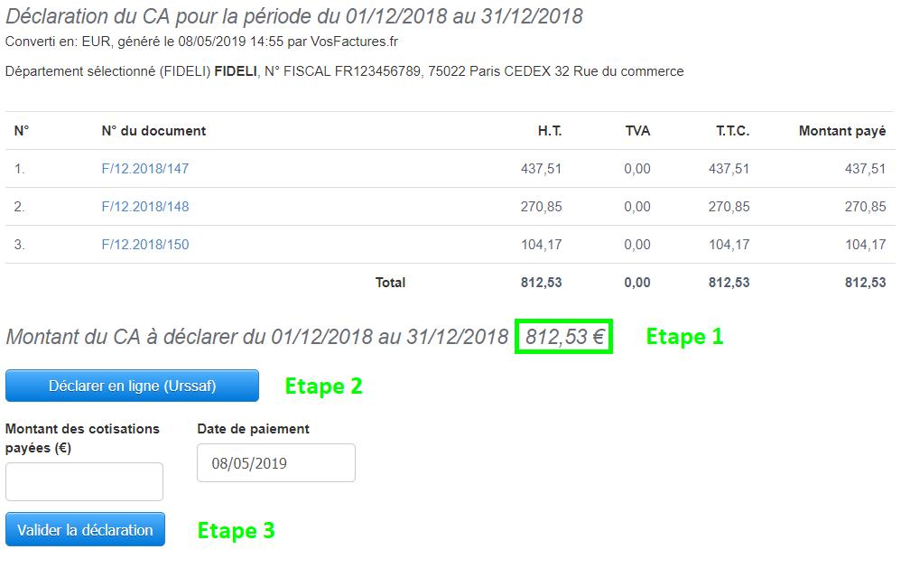 Facturation Rapport Autoentrepreneur Urssaf Microentrepreneur Déclaration CA Trimestre