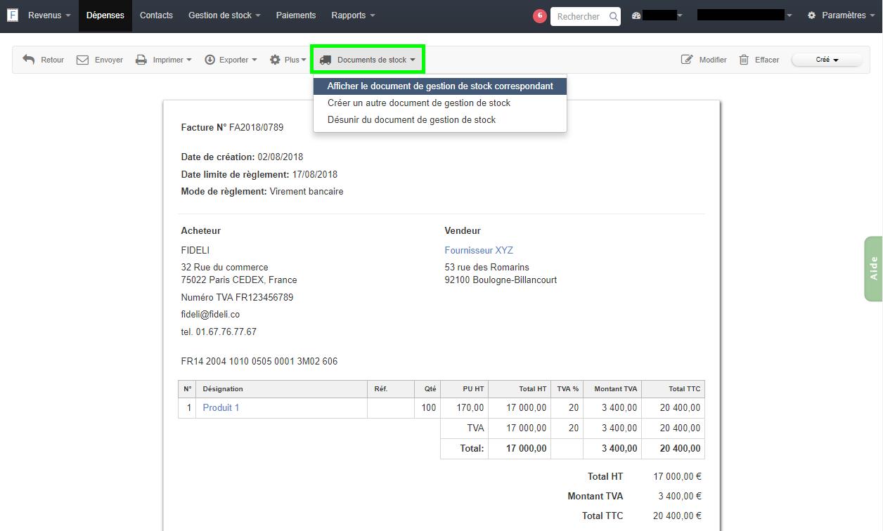 Facturation Exemple Afficher Document Gestion Stock Depuis Facture