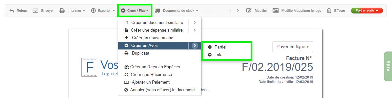 Facture D'Avoir à partir Facture Existante Logiciel Facturation VosFactures.fr