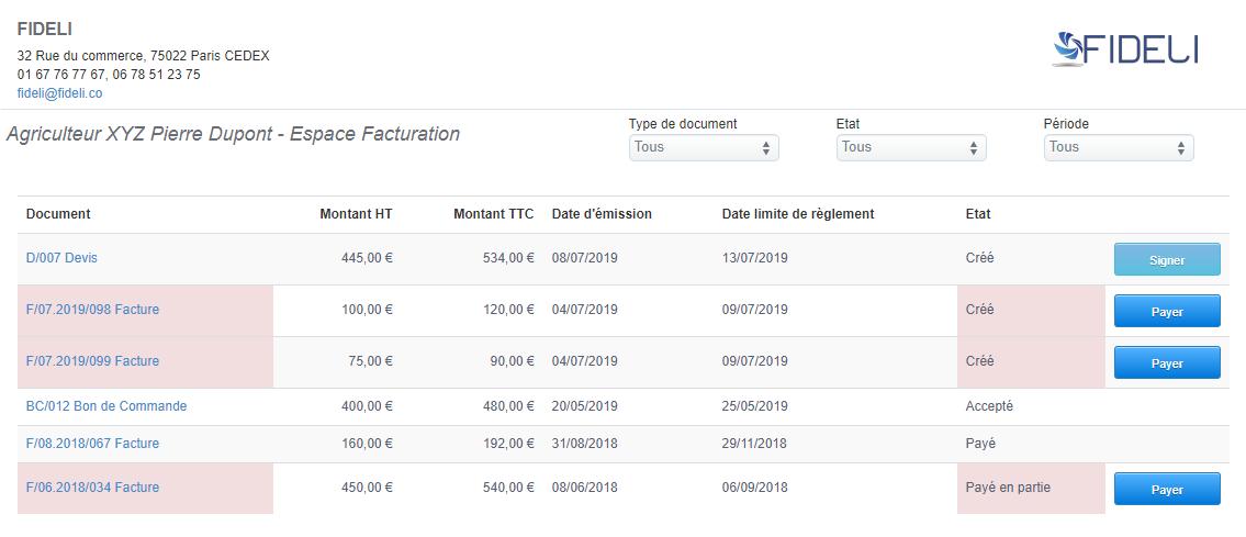 Fonction Espace Client Facturation