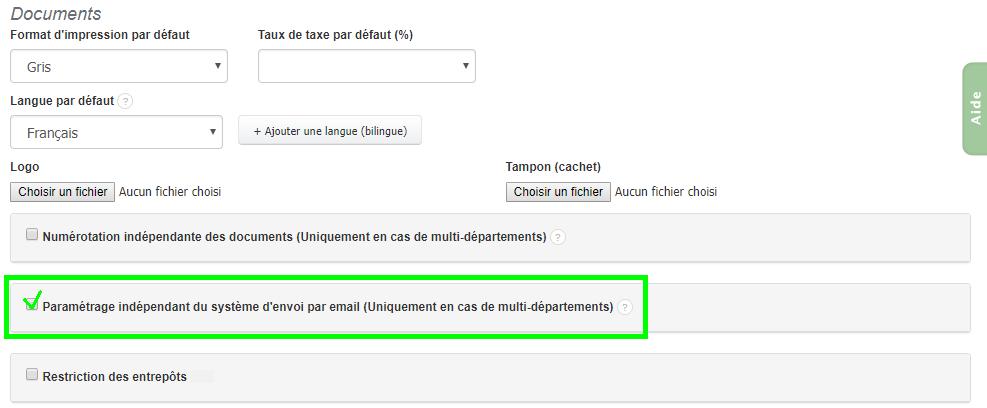 Combiner Plusieurs Formats d'envoi en ligne Multi-Département VosFactures.fr