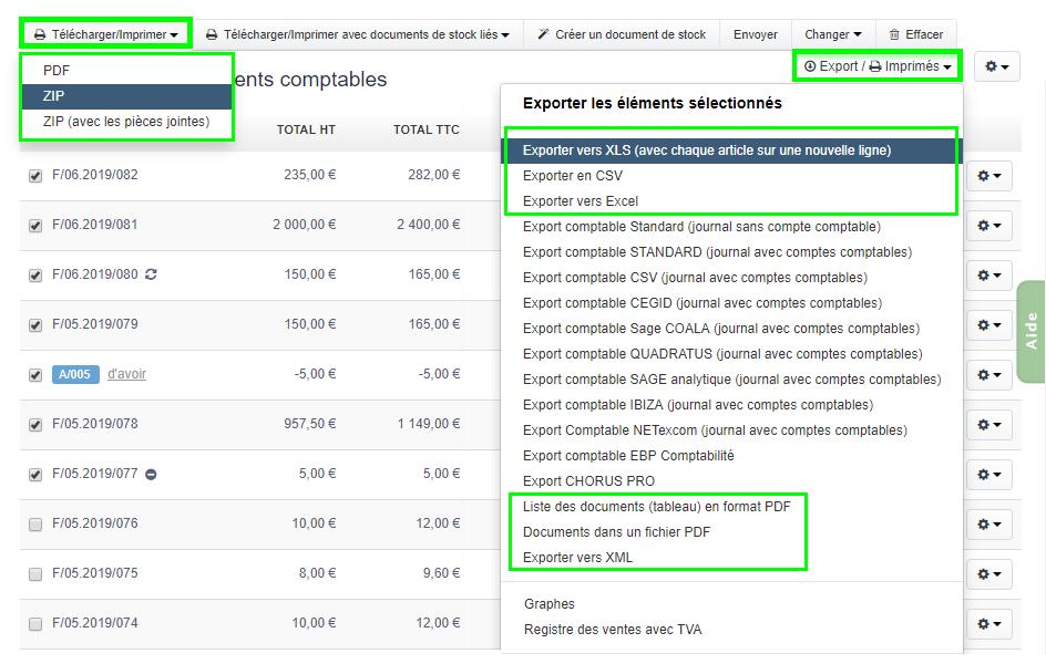 Télécharger Exporter Imprimer les Documents de facturation VosFactures.fr