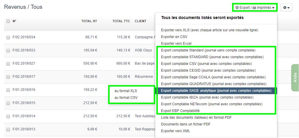 Facturation Comptabilité Plan Comptable Taxe TVA Export Document
