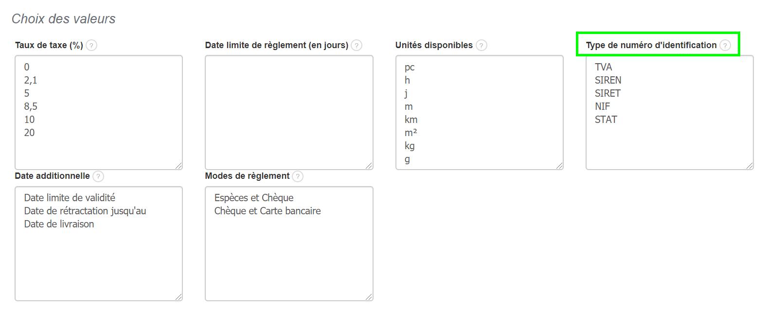Personnaliser le Type du N° d'Identification Fiscale Facturation VosFactures.fr