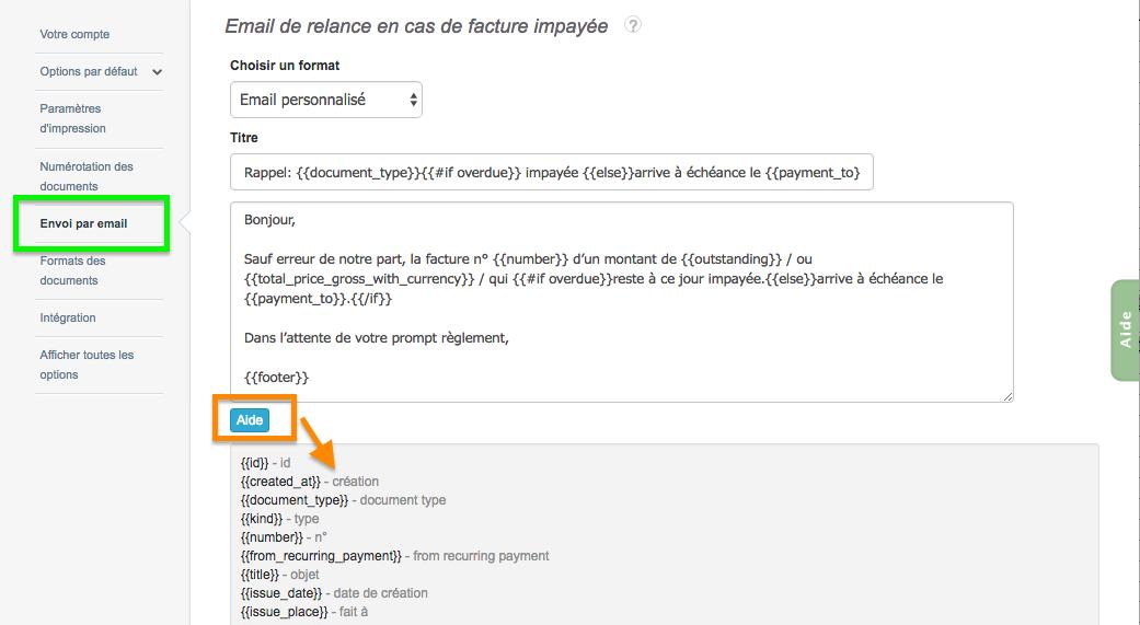 Contenu Mail Facture Relance Personnalisé Variables Dynamiques