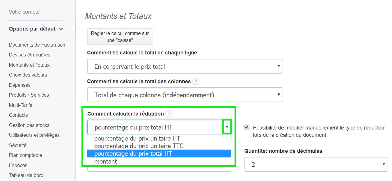 Facture Devis Remise Calcul de la Réduction Pourcentage VosFactures.fr Facturation
