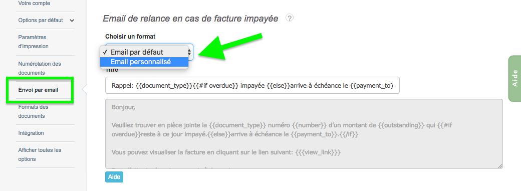 Paramétrage Contenu Email Personnalisé Pour Facture Impayé