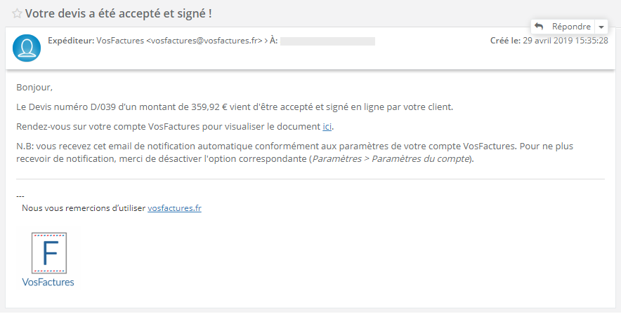Confirmation Signature Document En ligne Facturation