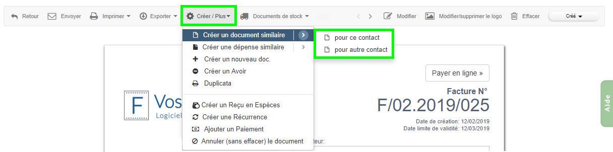 Création Documents Similaire Copier Coller Facturation Facture VosFactures