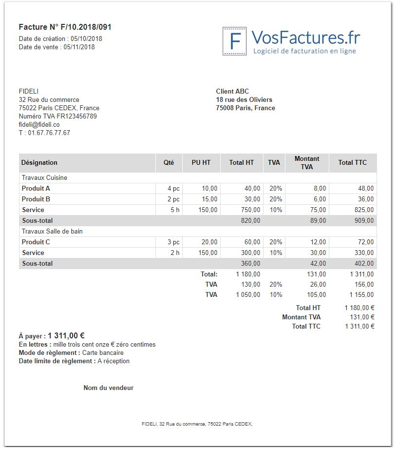 Regrouper Produits Insérer Sous Total Sous Totaux Fonctionnalités Facturation VosFactures