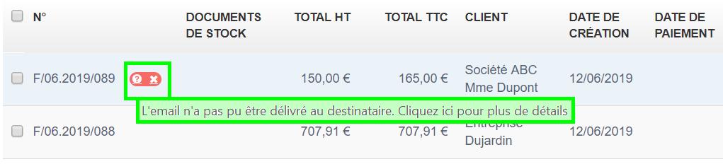 Bouton Rouge, Envoi non reçu non delivré VosFactures.fr