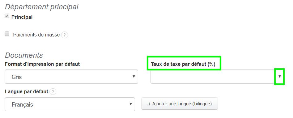Taxe par Default Personnalisation Document Facturation VosFactures