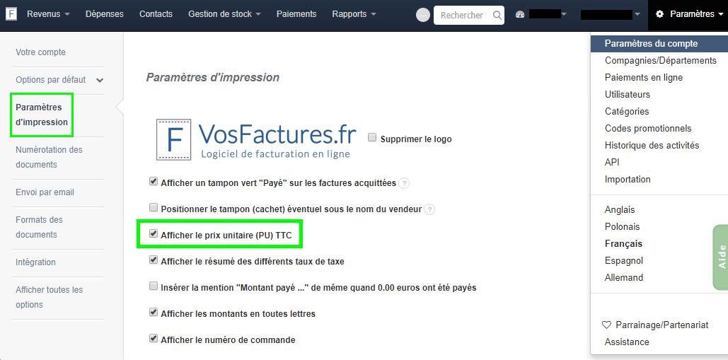 Afficher PU Calcul Prix HT TTC Montants Facturation Facture VosFactures
