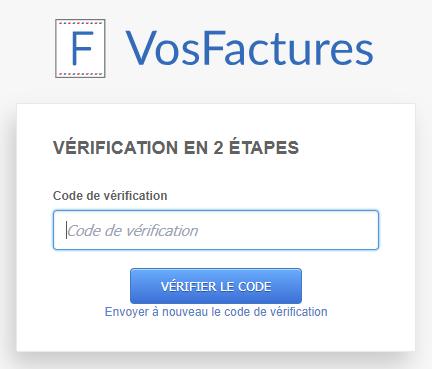 Sécurité Vérification Connexion Deux Étapes Facturation VosFactures